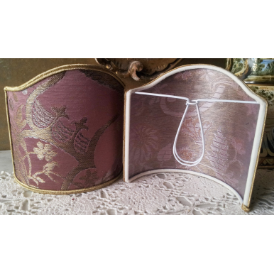 Wall Sconce Clip-On Shield Shade Mauve and Gold Silk Brocade Madama Butterfly Rubelli Fabric Mini Lampshade