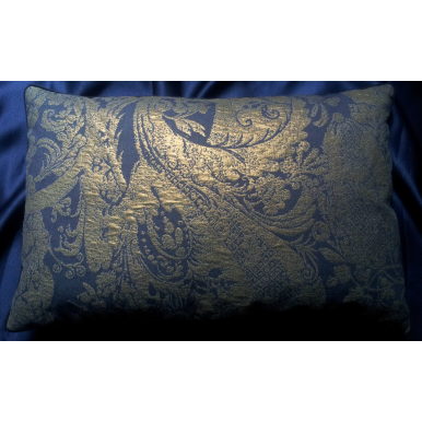 Lumbar Throw Pillow Cover Metallic Lampas Rubelli Fabric Blue Purple and Gold Re Mida Pattern