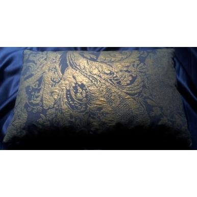 Fodera per Cuscino in Tessuto Lampasso Rubelli Re Mida Blu Viola e Oro