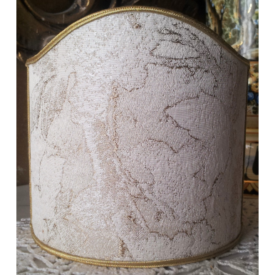 Wall Sconce Clip-On Shield Shade Silk Lampas Rubelli Fabric Ivory and Gold Dorian Gray Pattern Mini Lampshade