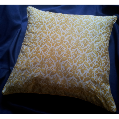 Throw Pillow Cushion Cover Fortuny Fabric Yellow and White Delfino Pattern