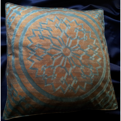 Fortuny Fabric Box Edge Throw Pillow Cushion Cover Antique Green & Copper Altare Pattern