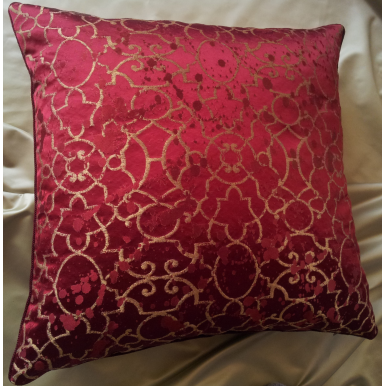 Throw Pillow Case Red and Gold Silk Lampas Rubelli Fabric Morosini Pattern