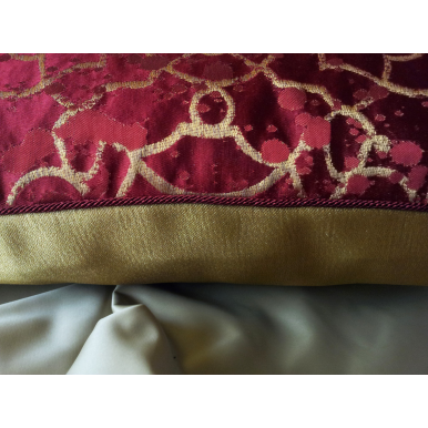 Fodera per Cuscino in Lampasso di Seta Rubelli Morosini Rosso e Oro