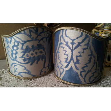 Wall Sconce Clip-On Shield Shade Fortuny Fabric Blue & Silvery Gold Nicolo Pattern Half Lampshade
