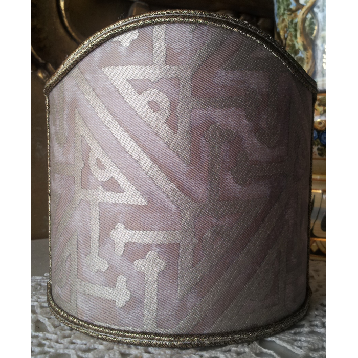 Wall Sconce Clip-On Shield Shade Fortuny Fabric Platinum & Silvery Gold Simboli Pattern