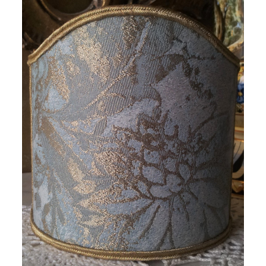 Clip-On Wall Sconces Shield Shade Aqua Blue and Gold Jacquard Rubelli Fabric Mirage Pattern Mini Lampshade