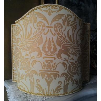 Venetian Lamp Shade Fortuny Fabric Uccelli Yellow Monotones