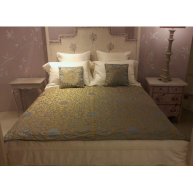 Luxury Custom-Sized Bedspread for Four Poster Bed Blue & Gold Silk Jacquard Rubelli Fabric Les Indes Galantes Pattern