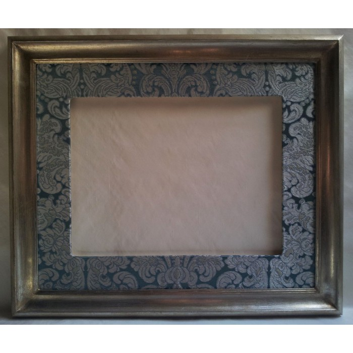 Silver Leaf Wooden Picture Frame with Hand-Wrapped Passepartout Silk Brocatelle Rubelli Fabric Tebaldo Pattern