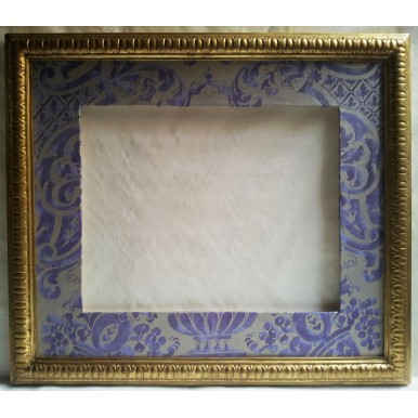 Gilt Gold Leaf Carved Wooden Frame with Fortuny Fabric Hand-Wrapped Passepartout Royal Purple & Silvery Gold Carnavalet Pattern