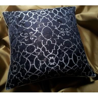 Throw Pillow Case Black Silk Lampas Rubelli Fabric Morosini Pattern