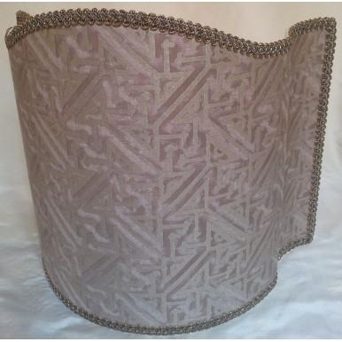 Venetian Lamp Shade Fortuny Fabric Platinum & Silvery Gold Simboli Pattern Half Lampshade