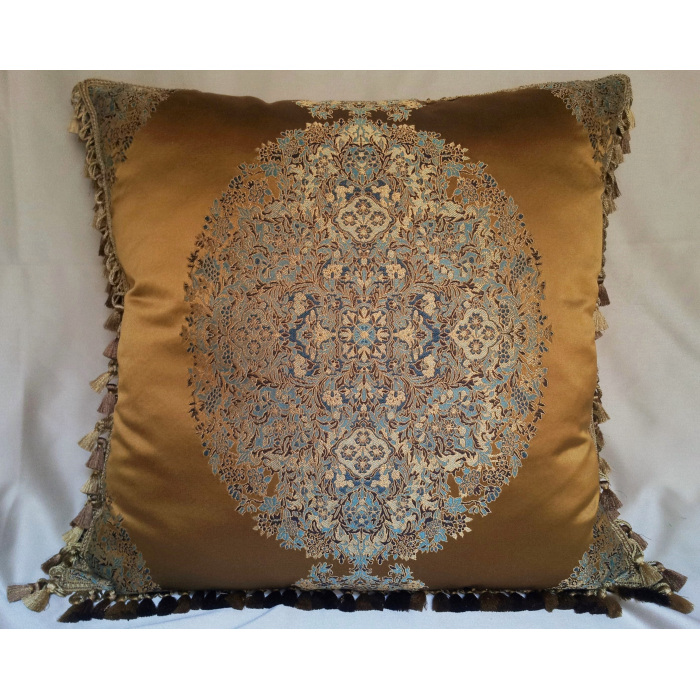 Decorative Pillow Case with Samuel and Sons Tassel Trim Silk Lampas Rubelli Fabric Brass Sherazade Pattern