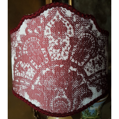 Italian Lamp Shade Rubelli Jacquard Fabric Red & Off White Fiammetta Pattern