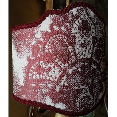Italian Lamp Shade Rubelli Jacquard Fabric Red & Off White Fiammetta Pattern