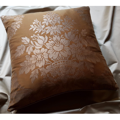 Throw Pillow Cushion Cover Fortuny Fabric Warm French Brown & Gold Boucher Pattern