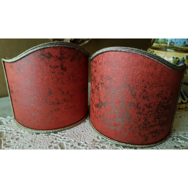 Clip-On Lamp Shade Coral Red Rubelli Jacquard Fabric Lacca Pattern