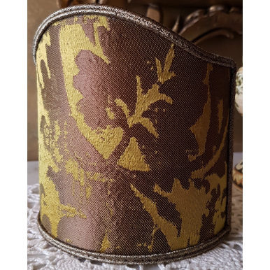 Wall Sconce Clip-On Shield Shade Gold Jacquard Rubelli Fabric Gritti Pattern Mini Lampshade