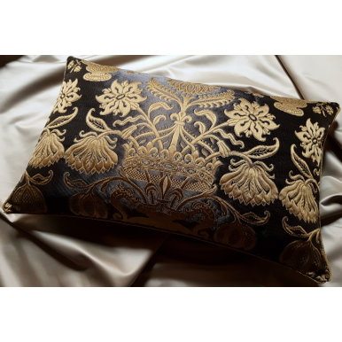 Lumbar Throw Pillow Cushion Cover Ebony and Gold Silk Brocatelle Rubelli Fabric Castiglione Pattern
