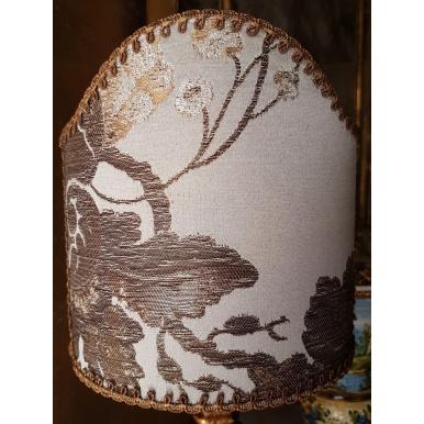 Abat Jour à Pince en Tissu Brocart de Soie Rubelli Lady Hamilton Nacre