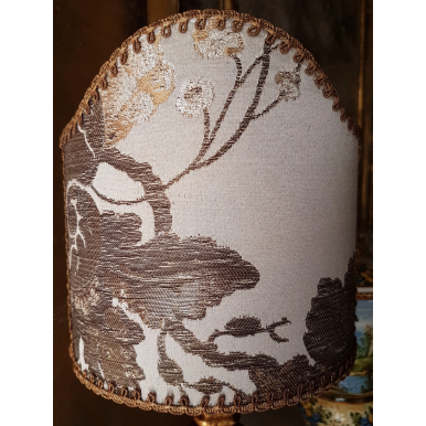 Clip On Lamp Shade Mother of Pearl Silk Brocade Rubelli Fabric Lady Hamilton Pattern Half Lampshade