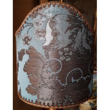 Abat Jour à Pince en Tissu Brocart de Soie Rubelli Lady Hamilton Bleu