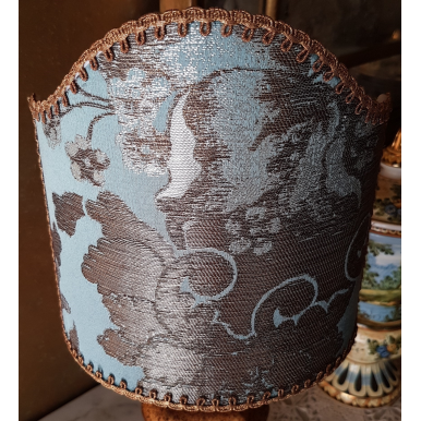 Clip On Lamp Shade Aqua Blue Silk Brocade Rubelli Fabric Lady Hamilton Pattern Half Lampshade