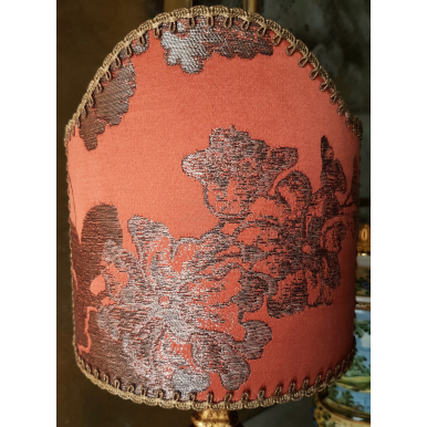 Clip On Lamp Shade Coral Silk Brocade Rubelli Fabric Lady Hamilton Pattern Half Lampshade