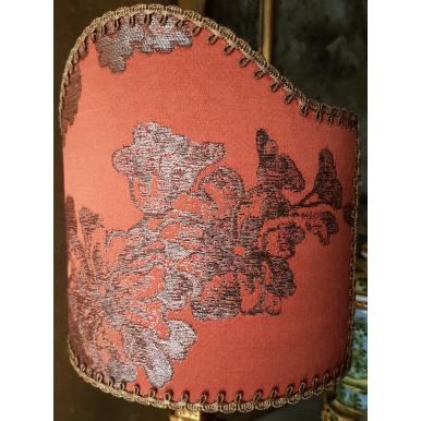 Clip On Lamp Shade Coral Silk Brocade Rubelli Fabric Lady Hamilton Pattern Half Lampshade