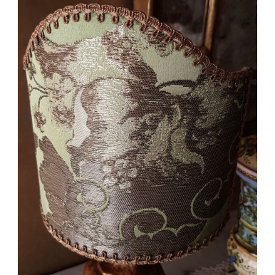 Clip On Lamp Shade Jade Green Silk Brocade Rubelli Fabric Lady Hamilton Pattern Half Lampshade