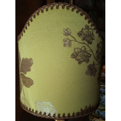 Clip On Lamp Shade Lemon Green Silk Brocade Rubelli Fabric Lady Hamilton Pattern Half Lampshade