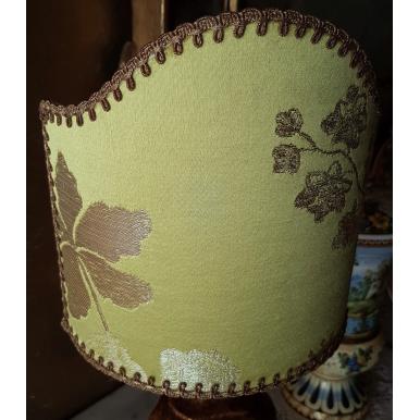 Clip On Lamp Shade Lemon Green Silk Brocade Rubelli Fabric Lady Hamilton Pattern Half Lampshade