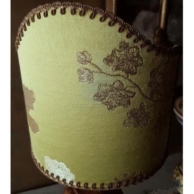 Paralume con Attacco a Molla in Tessuto Lampasso Ricco Rubelli Lady Hamilton Verde Limone