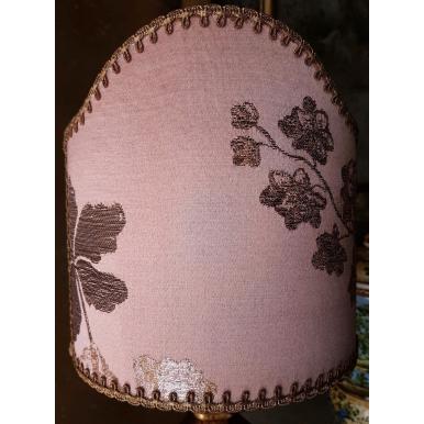 Abat Jour à Pince en Tissu Brocart de Soie Rubelli Lady Hamilton Rose Pêche