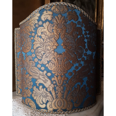 Venetian Lampshade Rubelli Silk Brocatelle Fabric Blue and Gold Tebaldo Pattern Half Lamp Shade