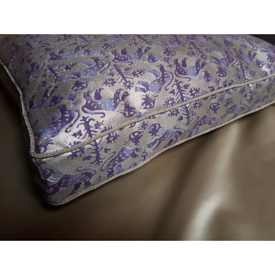 Fortuny Fabric Box Edge Throw Pillow Cushion Cover Royal Purple & Silvery Gold Richelieu Pattern