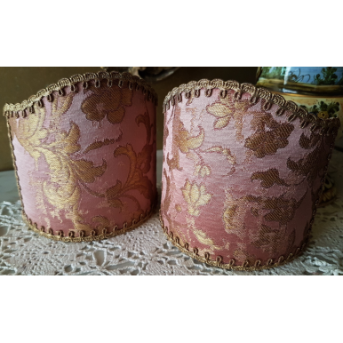 Wall Sconce Clip On Shield Shade Pink and Gold Silk Jacquard Rubelli Les Indes Galantes Pattern