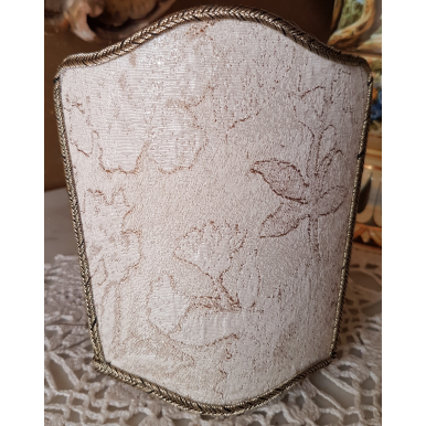 Wall Sconce Venetian Clip-On Shield Shade Silk Lampas Rubelli Fabric Ivory and Gold Dorian Gray Pattern Mini Lampshade