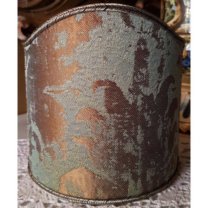 Wall Sconce Clip-On Shield Shade Reseda Green and Gold Jacquard Rubelli Fabric Gritti Pattern Mini Lampshade