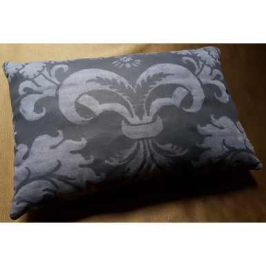 Fortuny Fabric Lumbar Throw Pillow Case Glicine Pattern Black Smokey Texture