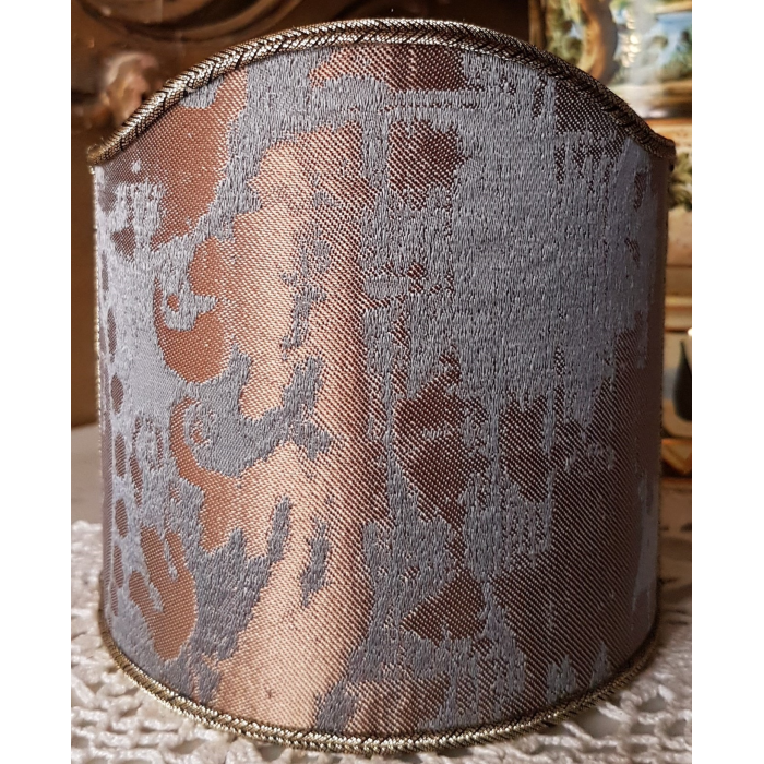 Wall Sconce Clip-On Shield Shade Lead Grey and Bronze Jacquard Rubelli Fabric Gritti Pattern Mini Lampshade