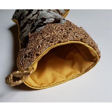 Chaussette de Noël Fait Main en Tissu Jacquard de Soie Rubelli Les Indes Galantes Bronze et Argent