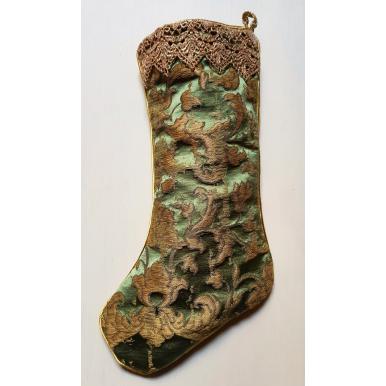 Chaussette de Noël Fait Main en Tissu Jacquard de Soie Rubelli Les Indes Galantes Vert et Or