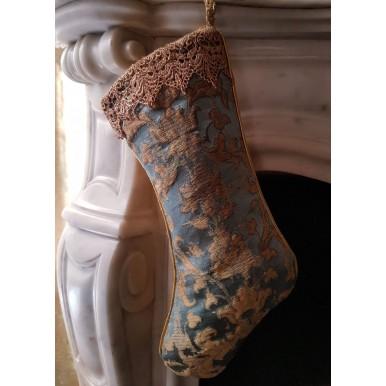 Calza di Natale in Tessuto Jacquard di Seta Rubelli Les Indes Galantes Azzurro e Oro