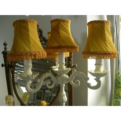 Antica Lampada Candeliere in Bronzo Shabby Chic