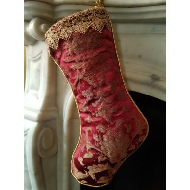 Calza di Natale in Tessuto Jacquard di Seta Rubelli Les Indes Galantes Rosso Cardinale e Oro