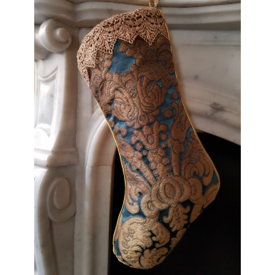Luxury Christmas Stocking Blue & Gold Silk Brocatelle Rubelli Fabric Tebaldo Pattern