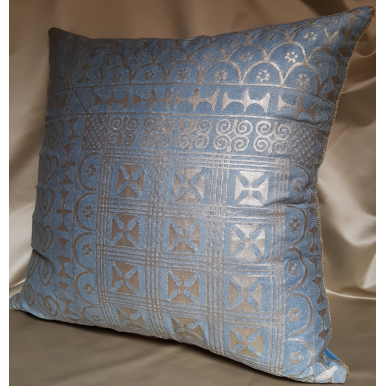 "22"" x 22"" Fortuny Throw Pillow Cushion Cover Slate Blue & Silvery Gold Ashanti Pattern"