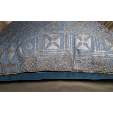 Fodera per Cuscino in Tessuto Fortuny Ashanti Azzurro e Oro